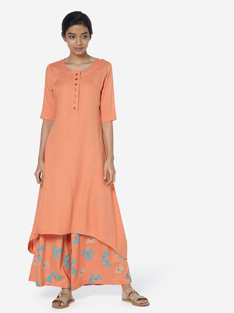 Utsa Orange Solid High-Low Kurta