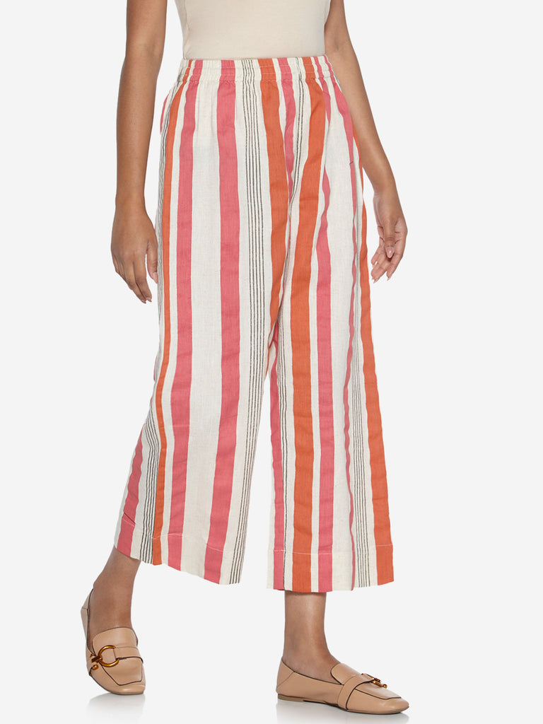 Utsa Off White Striped Palazzos