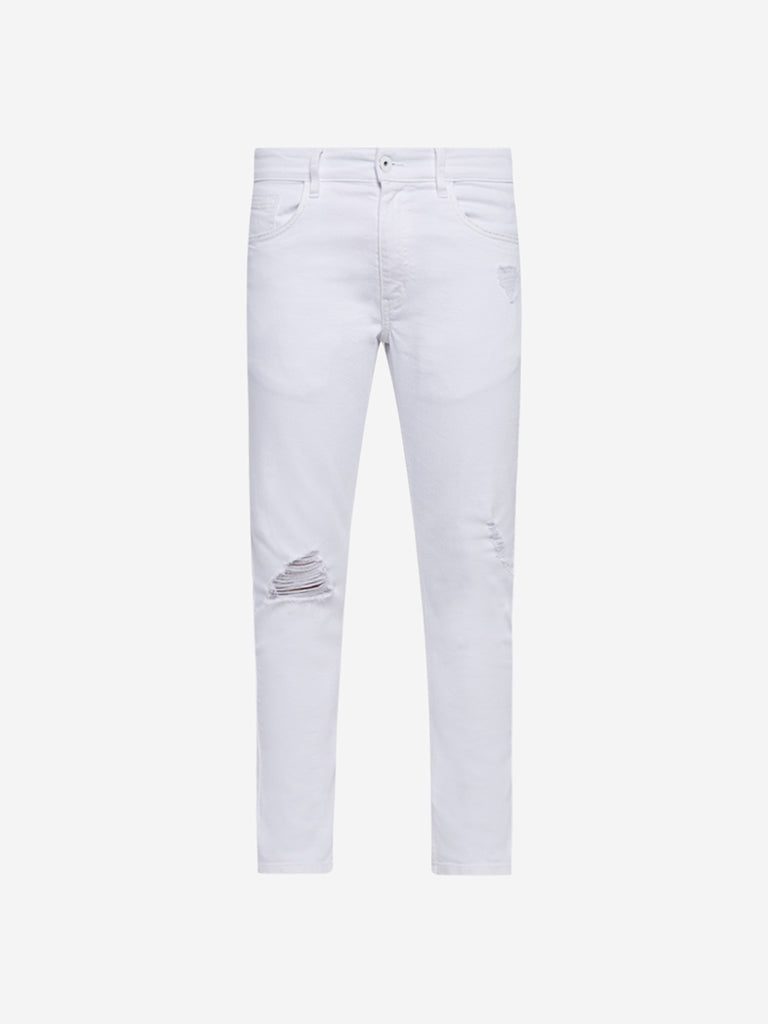 Nuon White Rodeo Carrot Fit Distressed Jeans