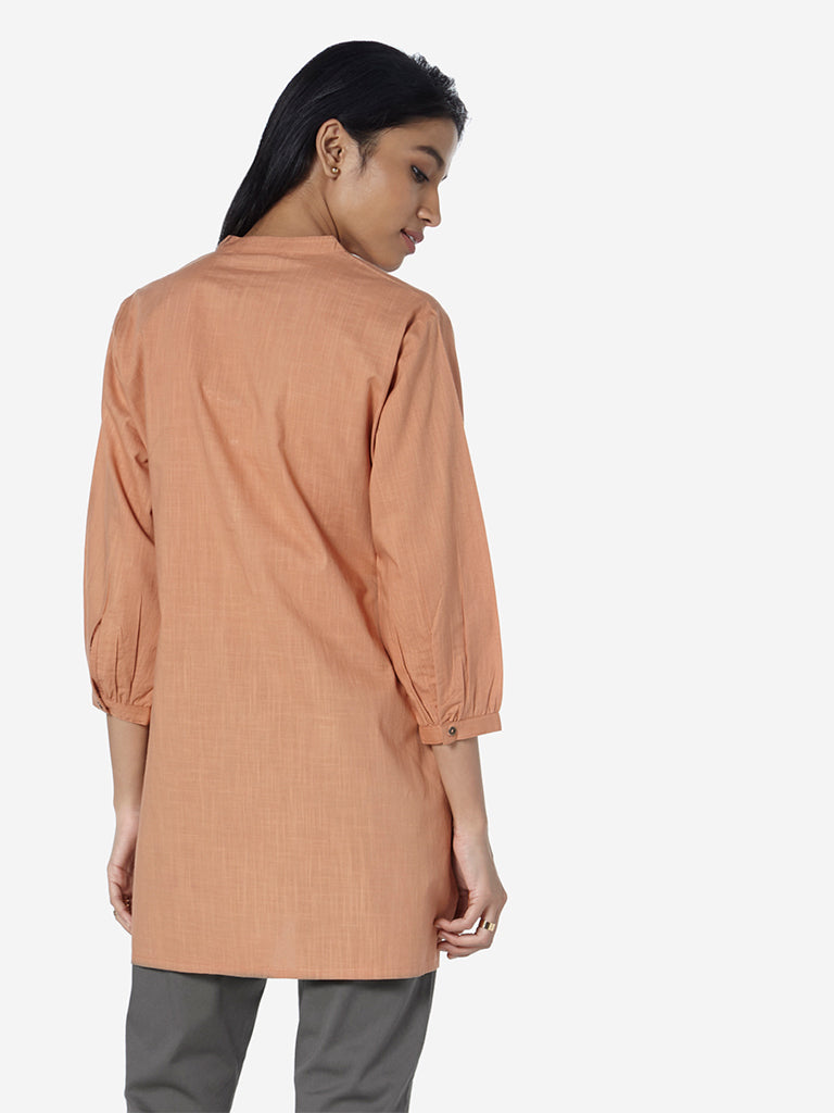 Utsa Light Brown High-Low Cutout Design Kurti