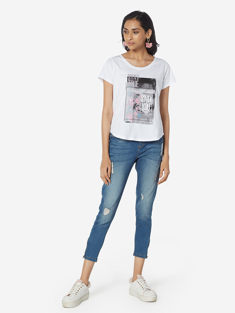 LOV White Graphic Print High-Low T-Shirt