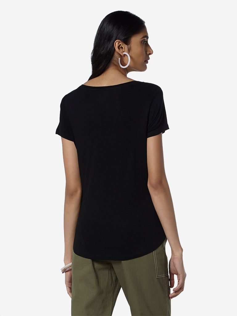 LOV Black Graphic Print Sherina T-Shirt