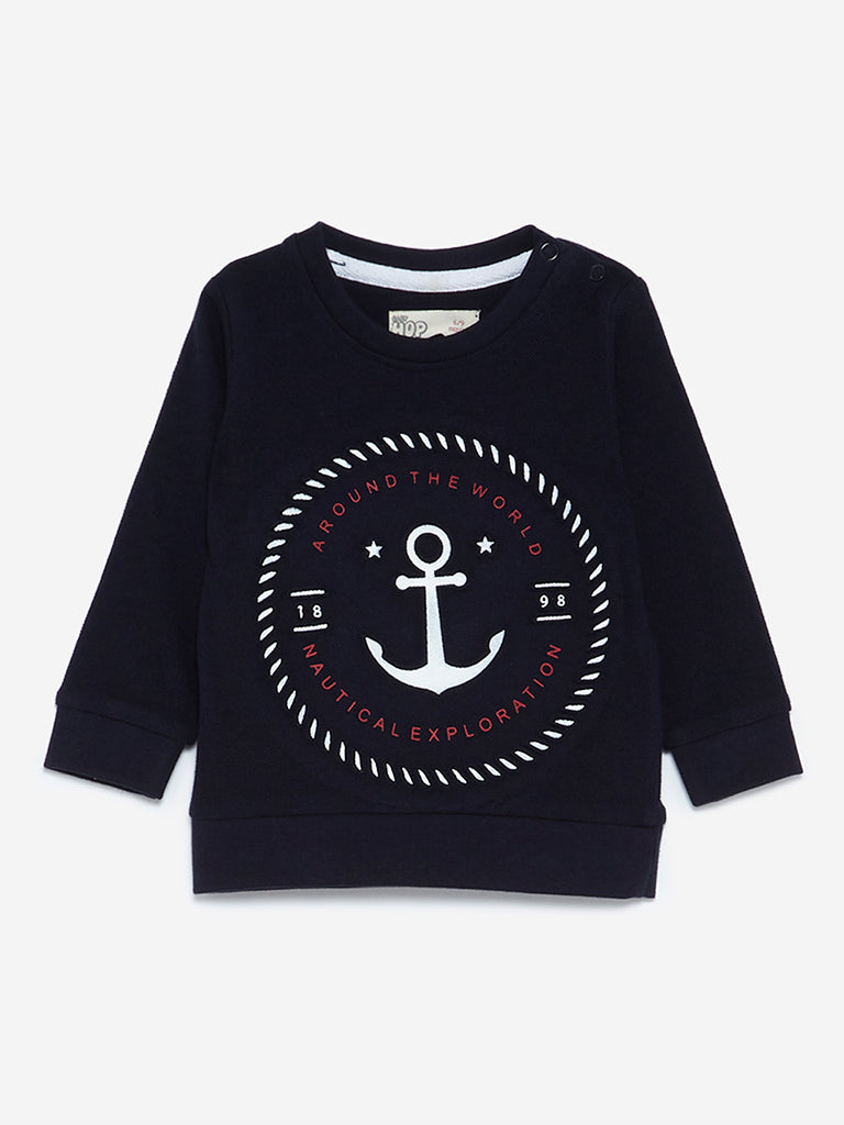 Baby HOP Navy Anchor Embroidered T-Shirt