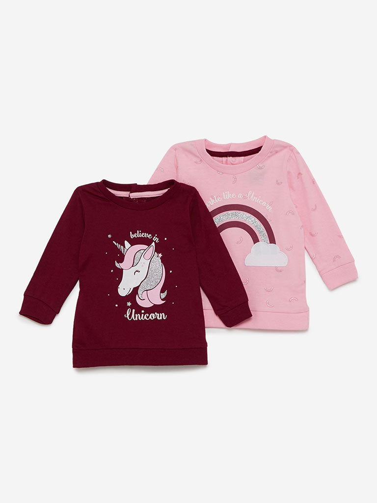 Baby HOP Light Pink SweaT-Shirt Set of Two