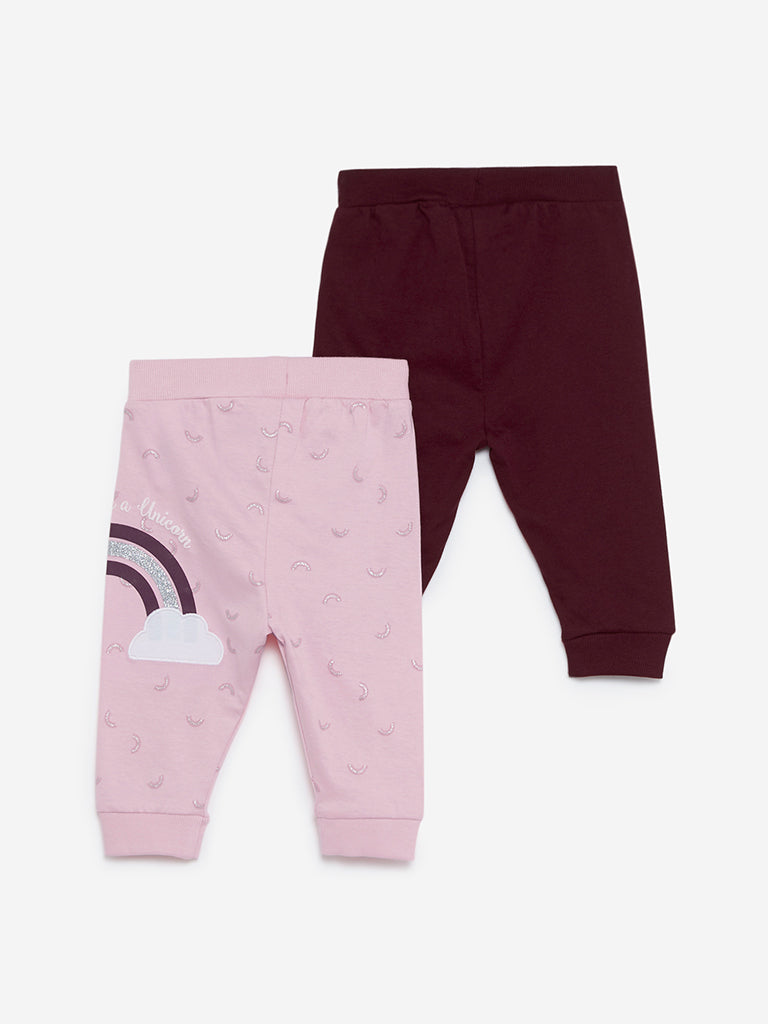 Baby HOP Burgundy Printed Joggers Set Of Two