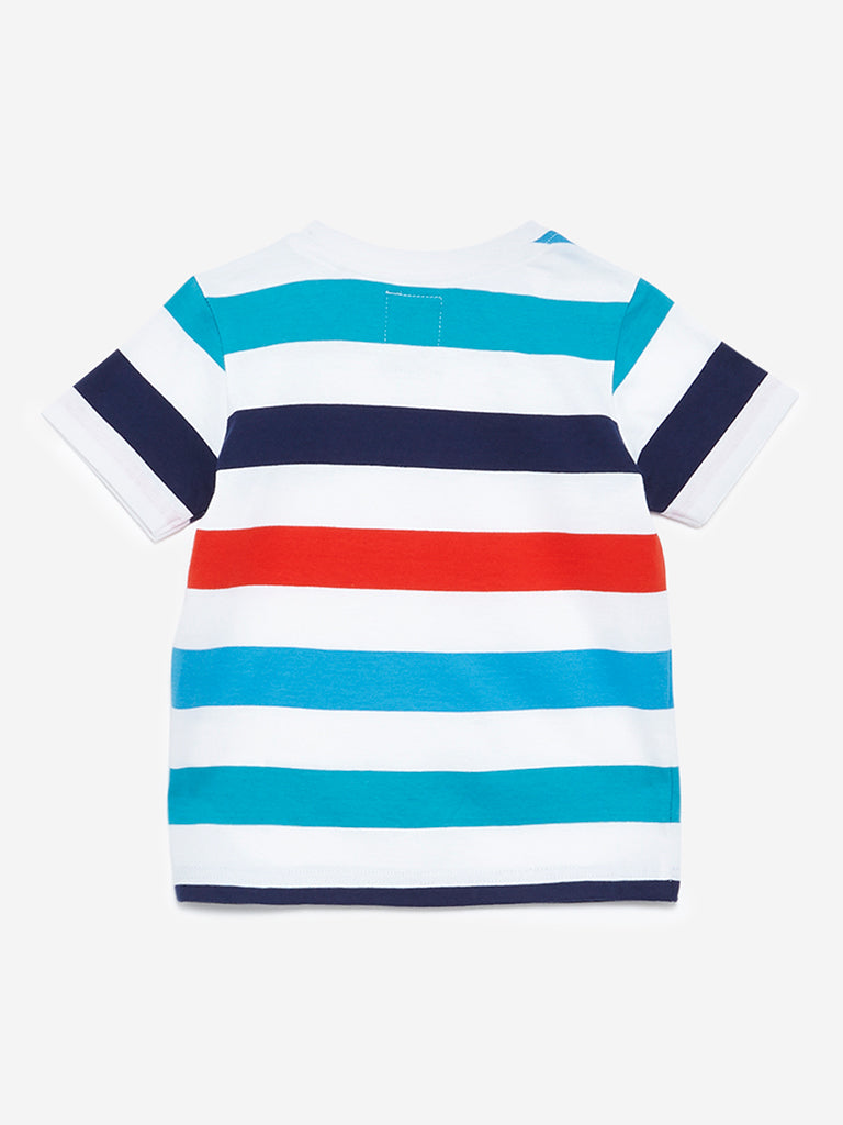 HOP Kids White Stripe Print T-Shirt