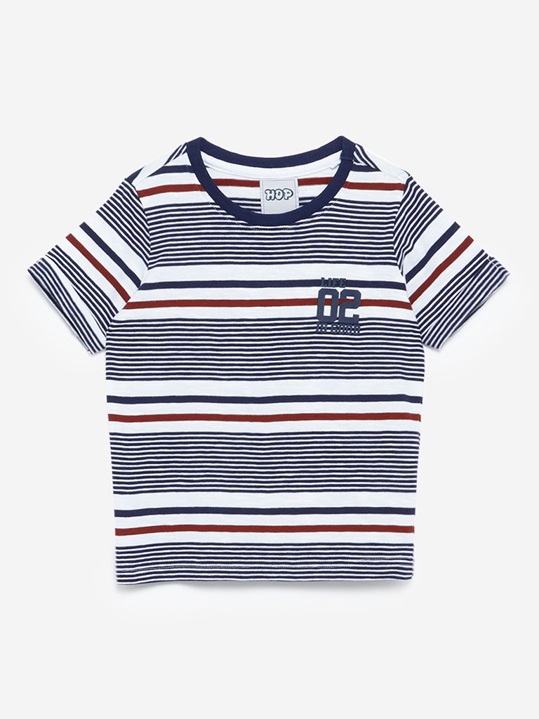 HOP Kids Navy Striped Crewneck T-Shirt