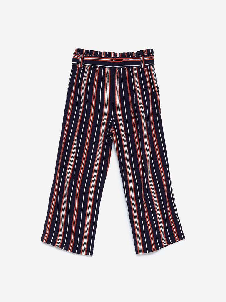 HOP Kids Navy Striped Palazzos With Belt