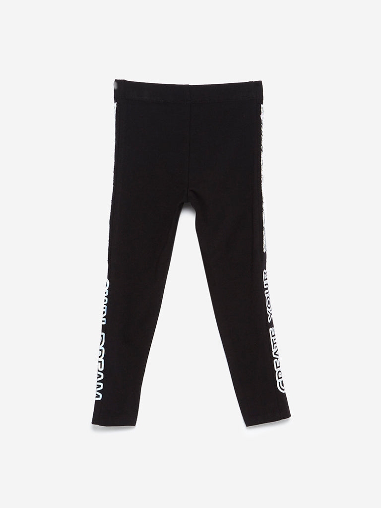 HOP Kids Black Reversible Sequinned Leggings