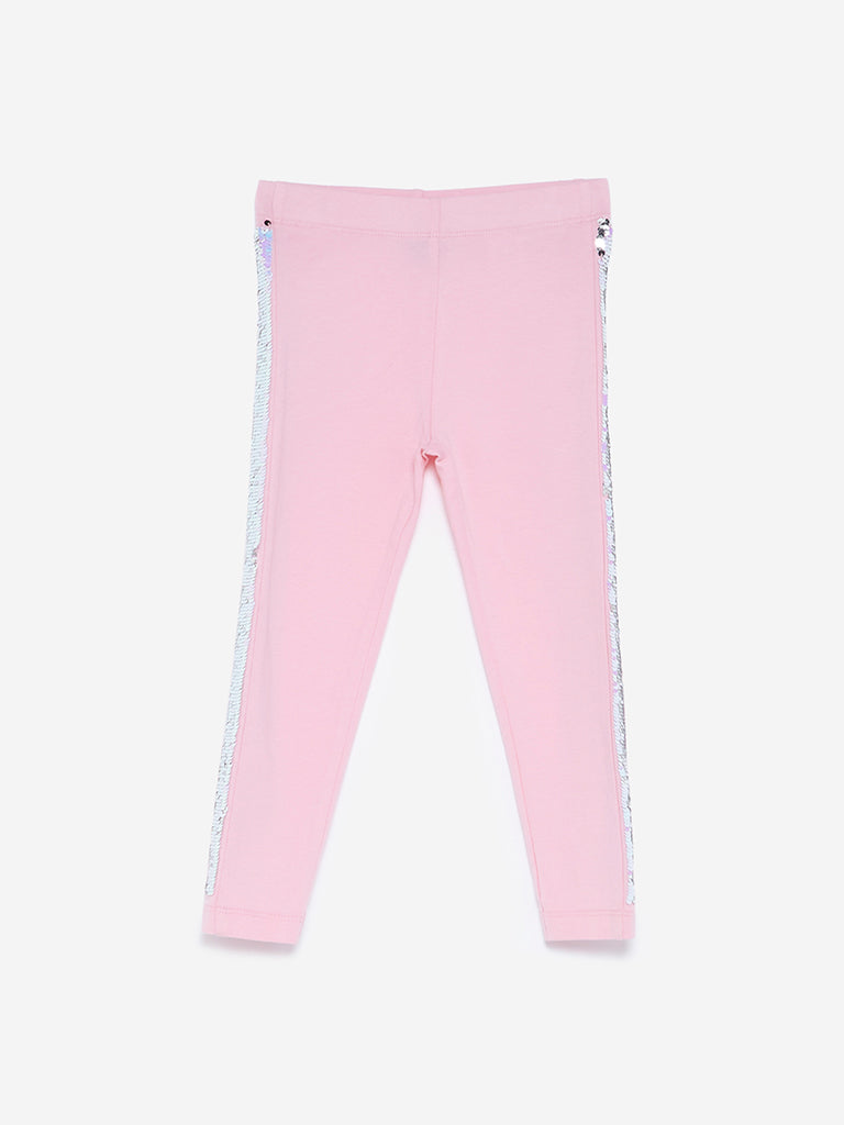 HOP Kids Light Pink Sequinned Leggings