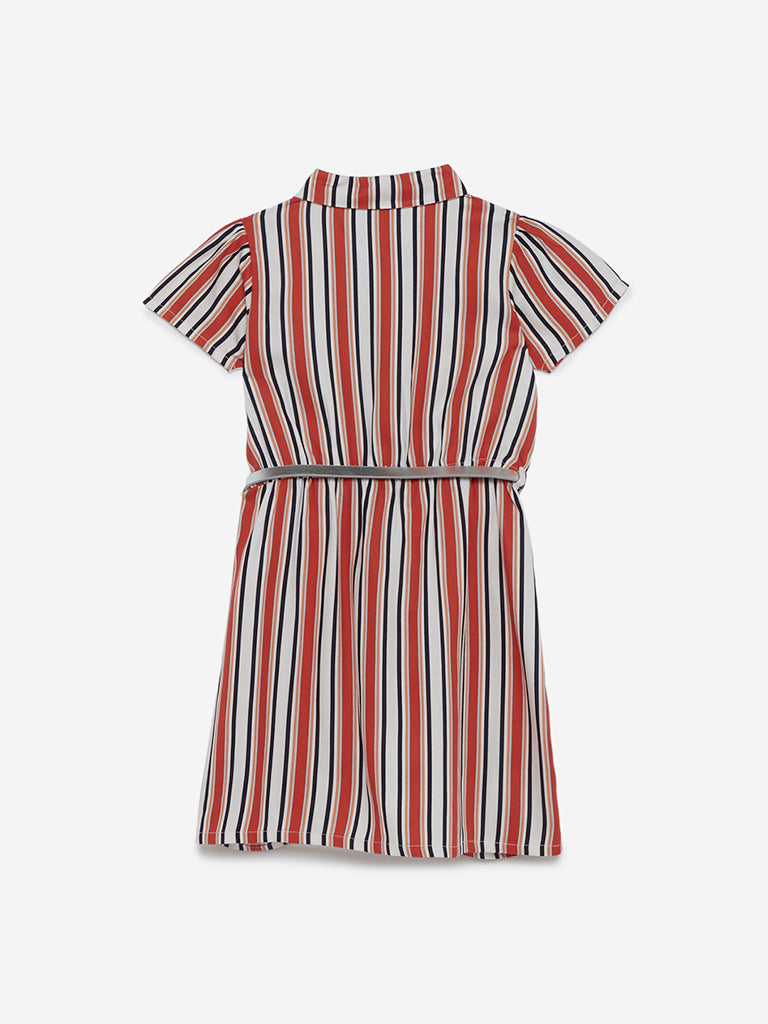 HOP Kids Orange Striped Jessie Dress With Belt