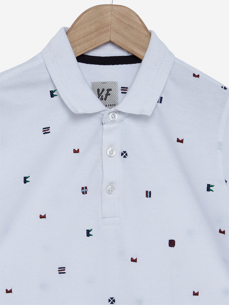 Y&F Kids White Embroidered Polo T-Shirt