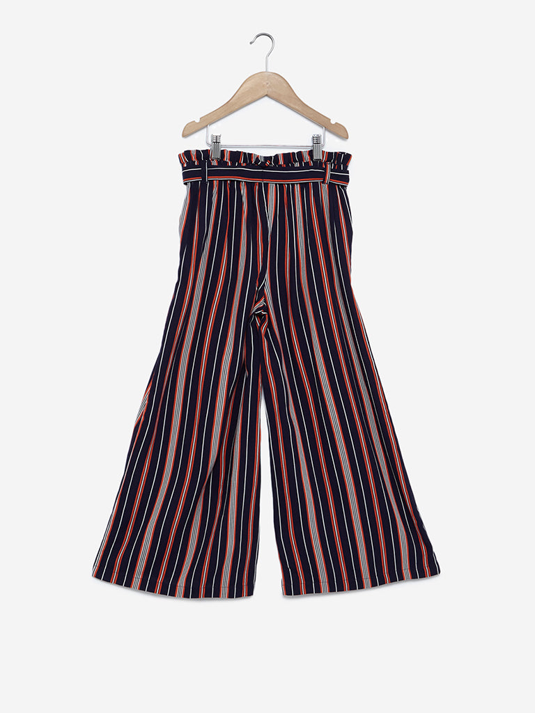 Y&F Kids Navy Striped Palazzos With Belt