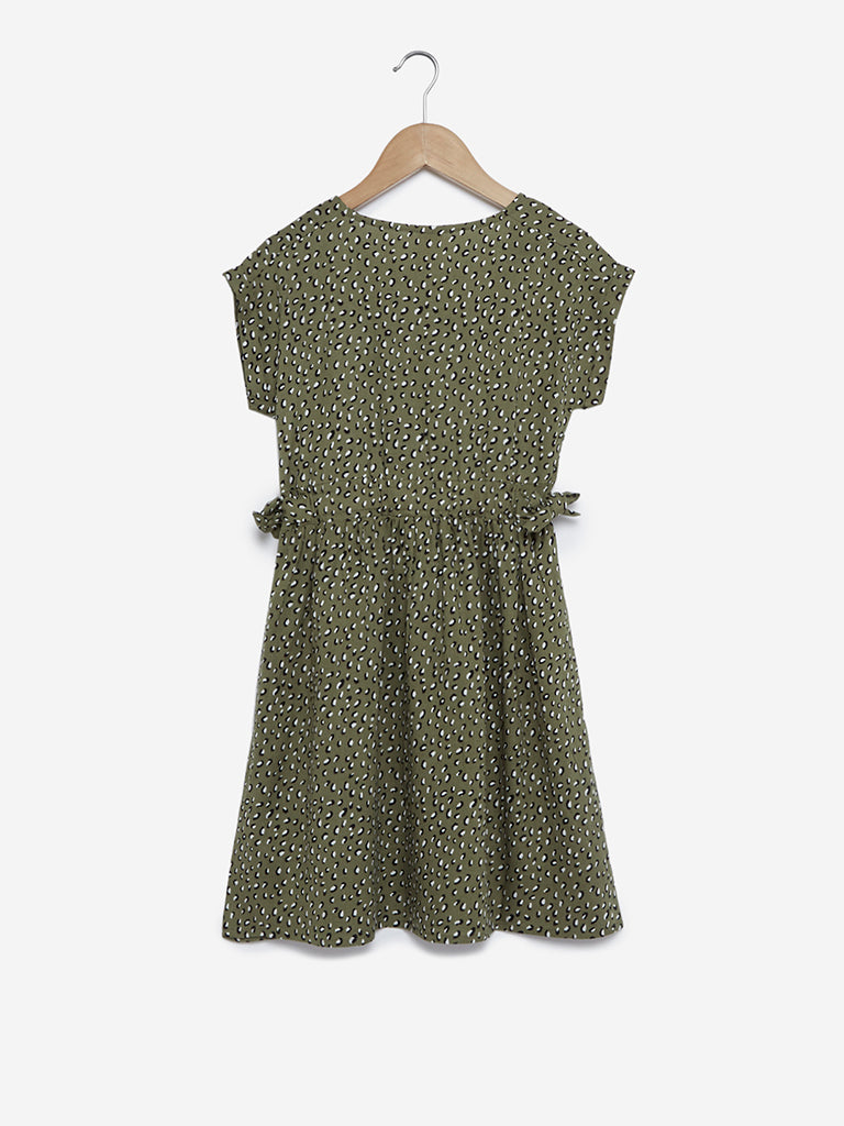 Y&F Kids Olive Printed Fit-And-Flare Dress