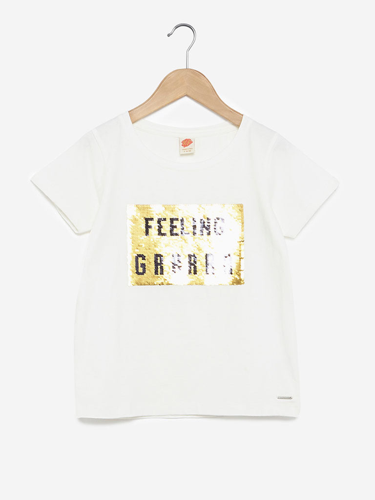 Y&F Kids White Sequinned T-Shirt