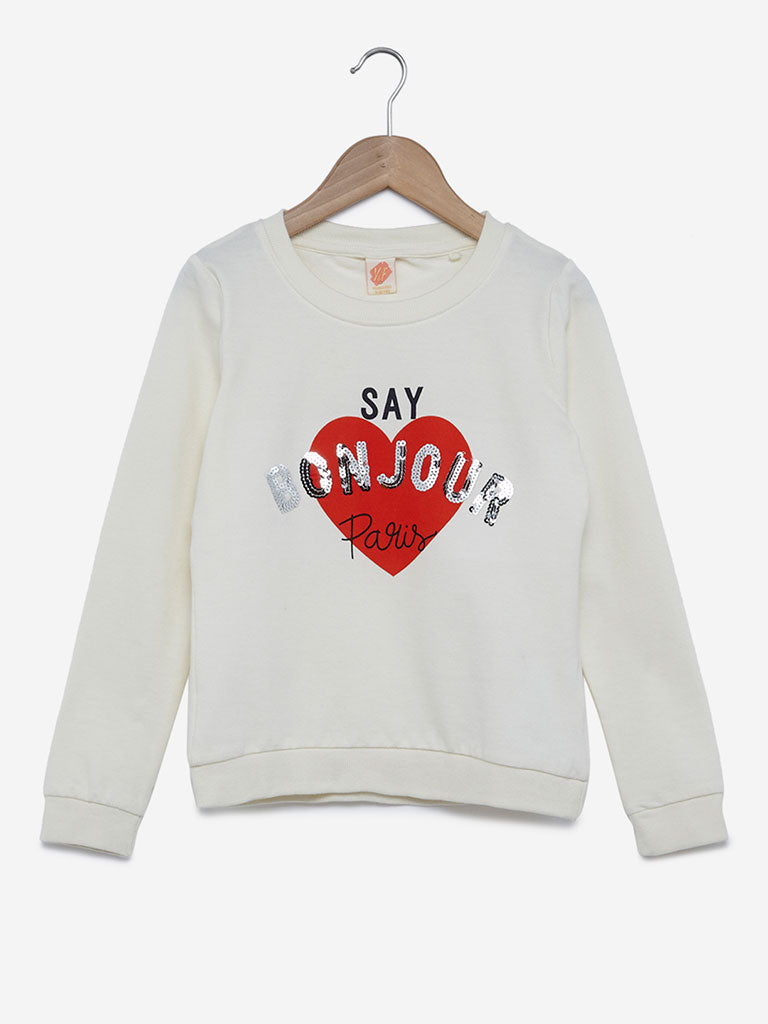 Y&F Kids Off-White Printed Cotton Sweatshirt