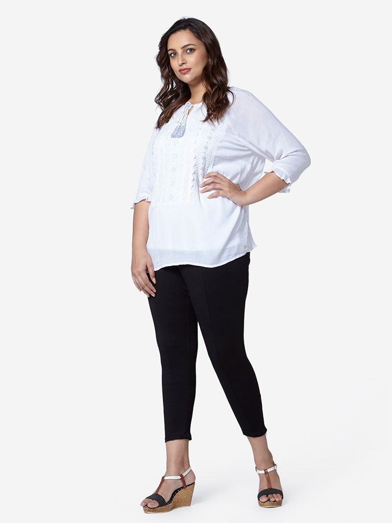 Gia Curve White Roma Top With Camisole