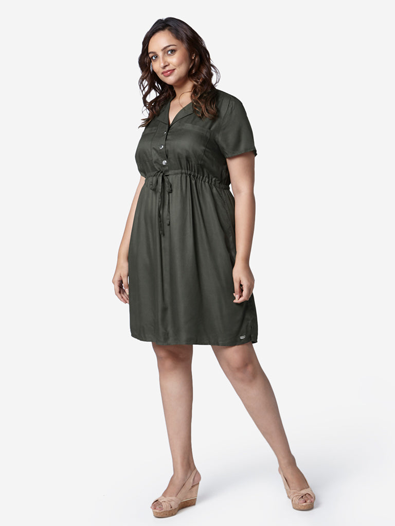 Gia Curve Olive Jason Fit-And-Flare Shirtdress