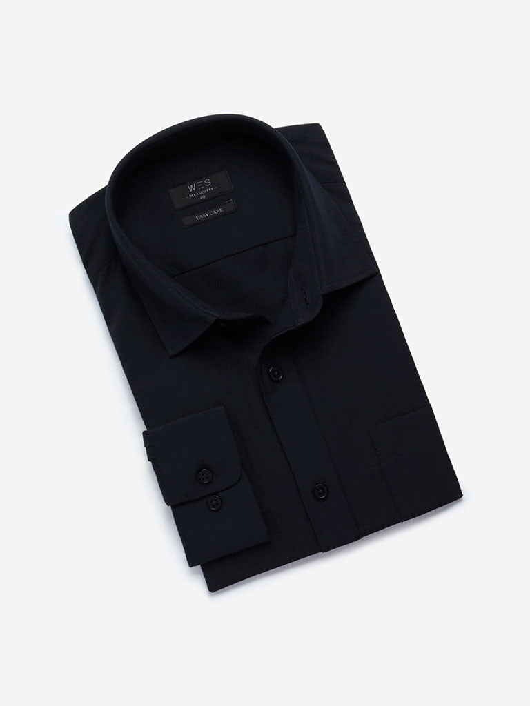WES Formals Navy Relaxed Fit Shirt