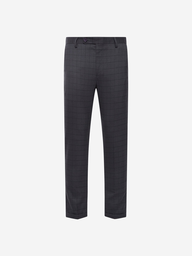 WES Formals Charcoal Checked Carrot Fit Trousers