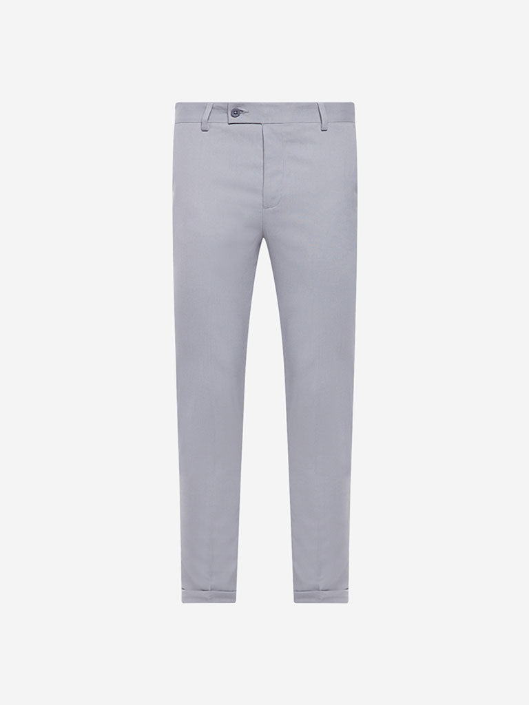 WES Formals Light Grey Carrot Fit Crop Trousers