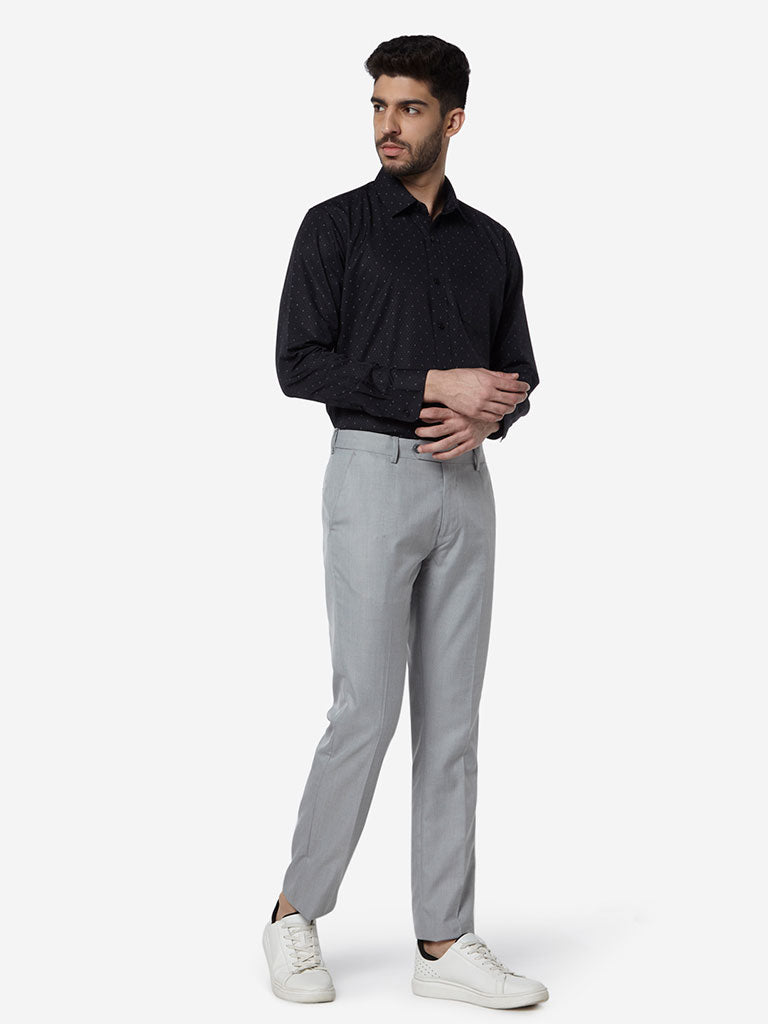 WES Formals Grey Relaxed Fit Trousers