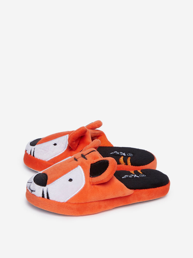 Yellow Kids Orange Tiger Print Bedroom Slippers