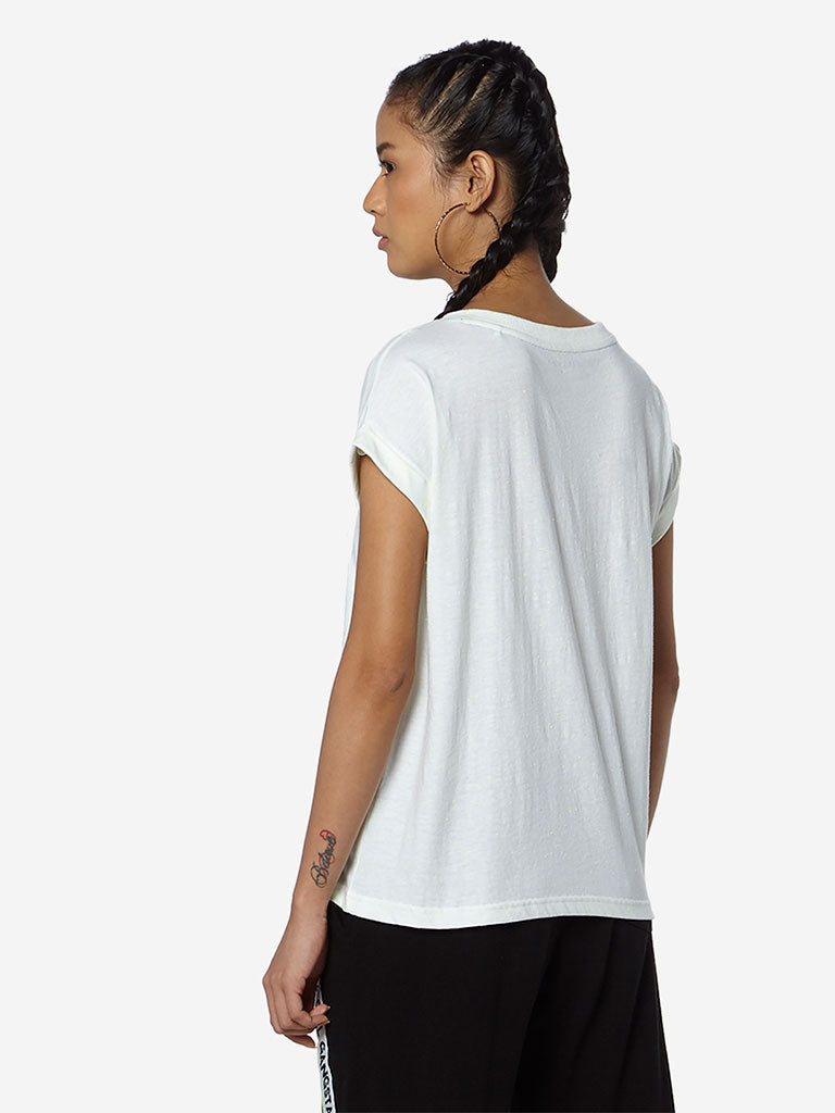 Studiofit White Text Pattern T-Shirt