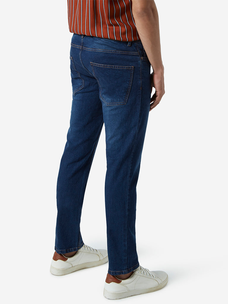WES Casuals Dark Blue Relaxed Fit Jeans