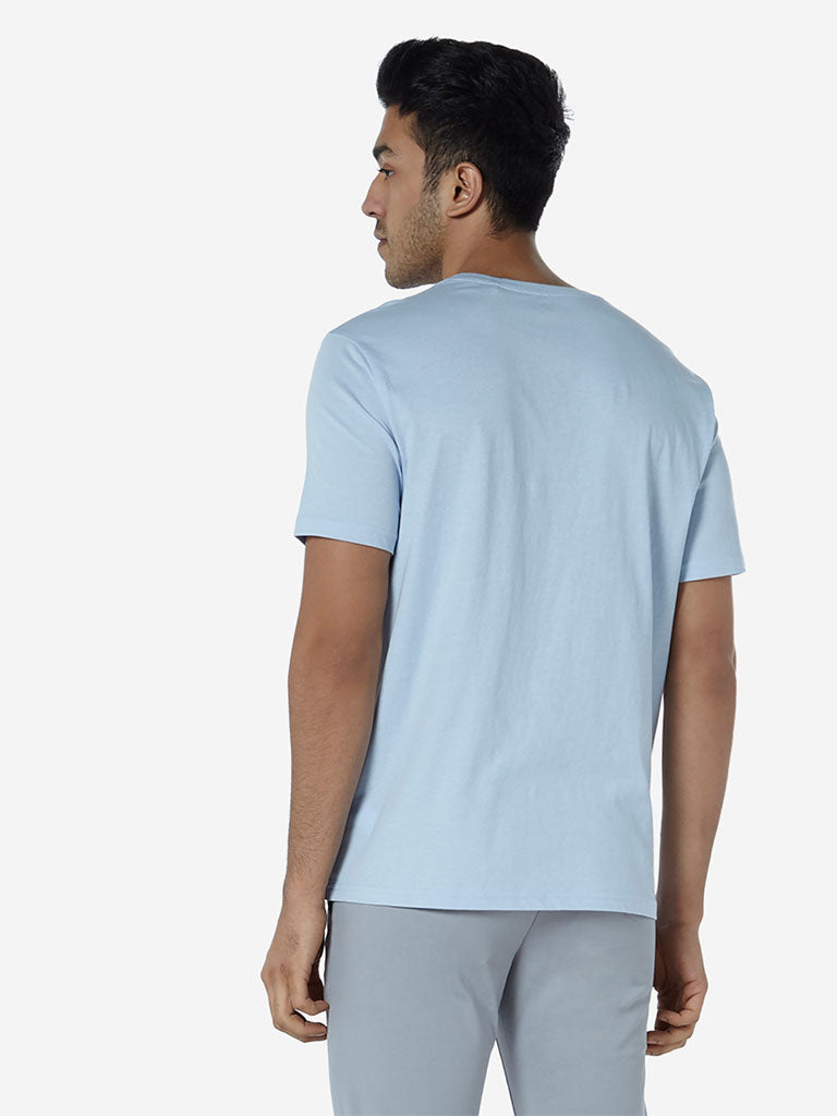 WES Casuals Light Blue Organic Slim Fit T-Shirt
