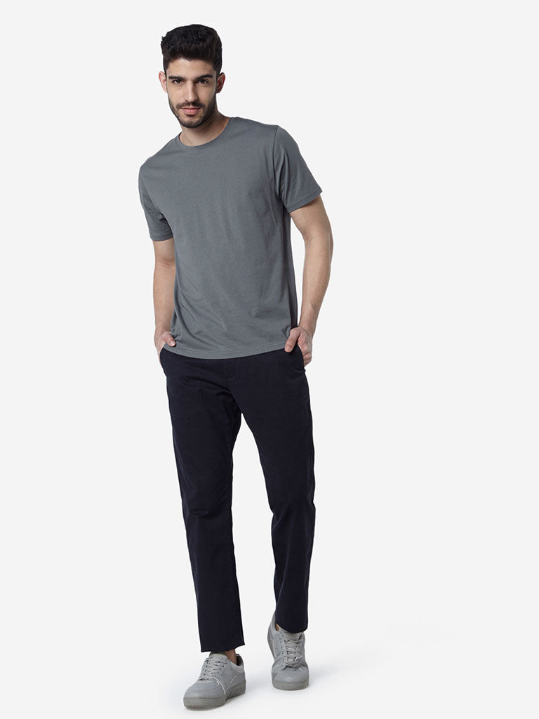 WES Casuals Grey Slim Fit Round-Neck T-Shirt