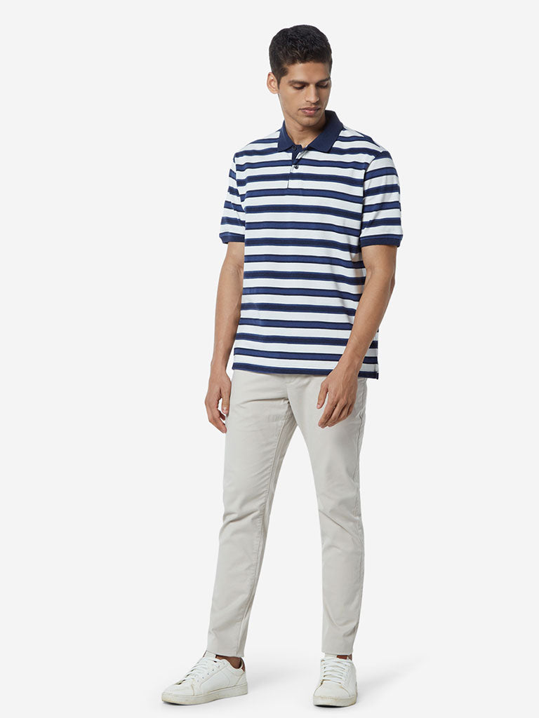 WES Casuals Indigo Relaxed Fit Polo T-Shirt