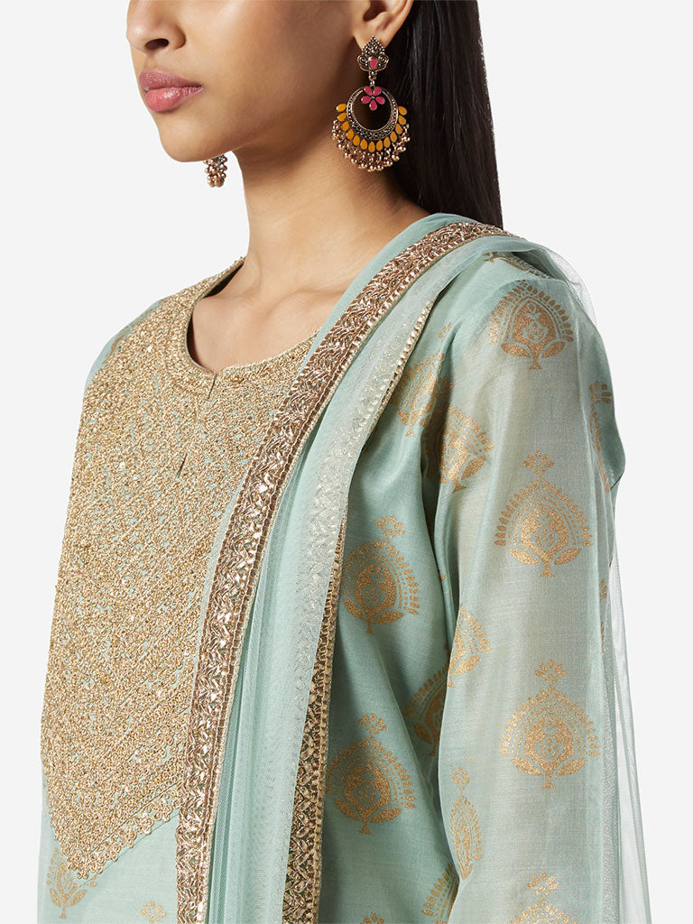 Vark Light Blue Kurta, Dupatta And Palazzos Set