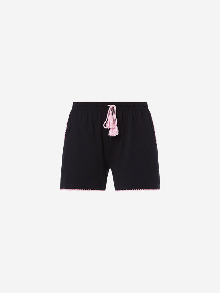 Wunderlove Black Pure-Cotton Shorts