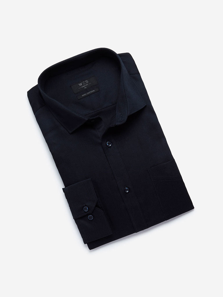 WES Formals Navy Self-Patterned Slim Fit Shirt