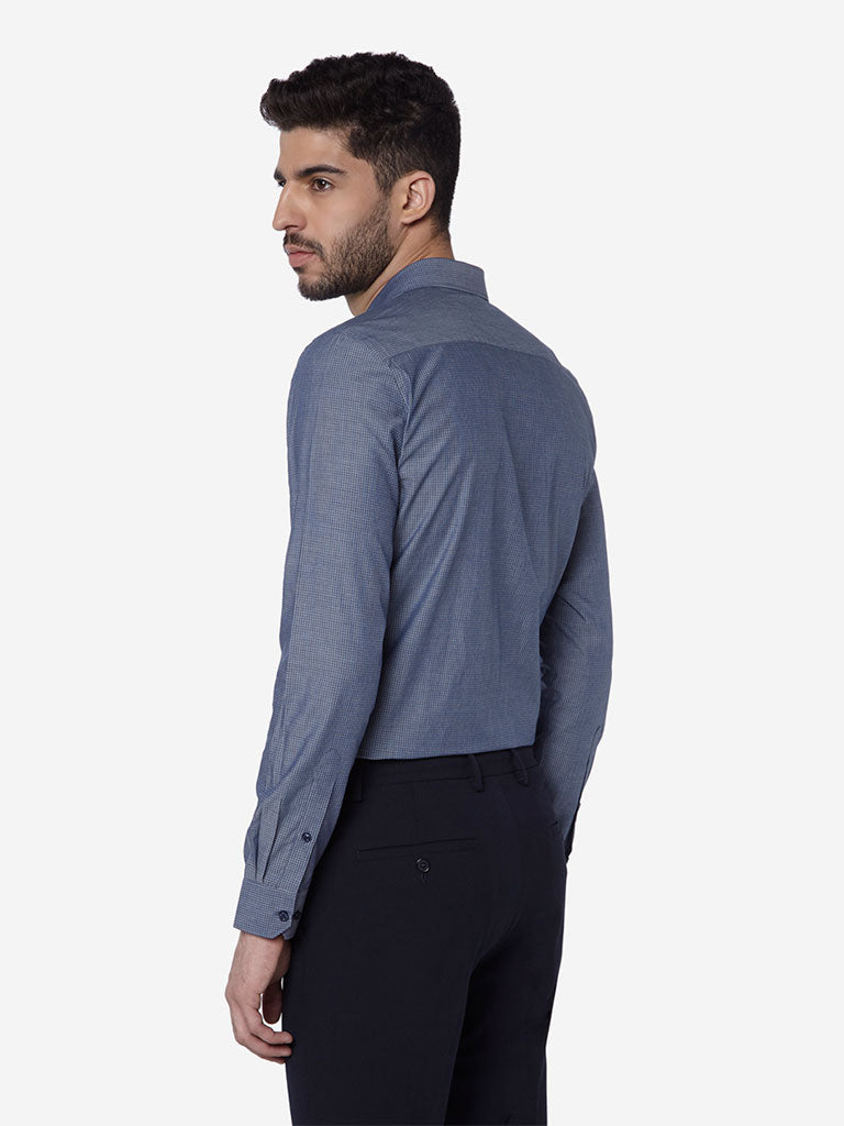 WES Formals Navy Slim Fit Shirt