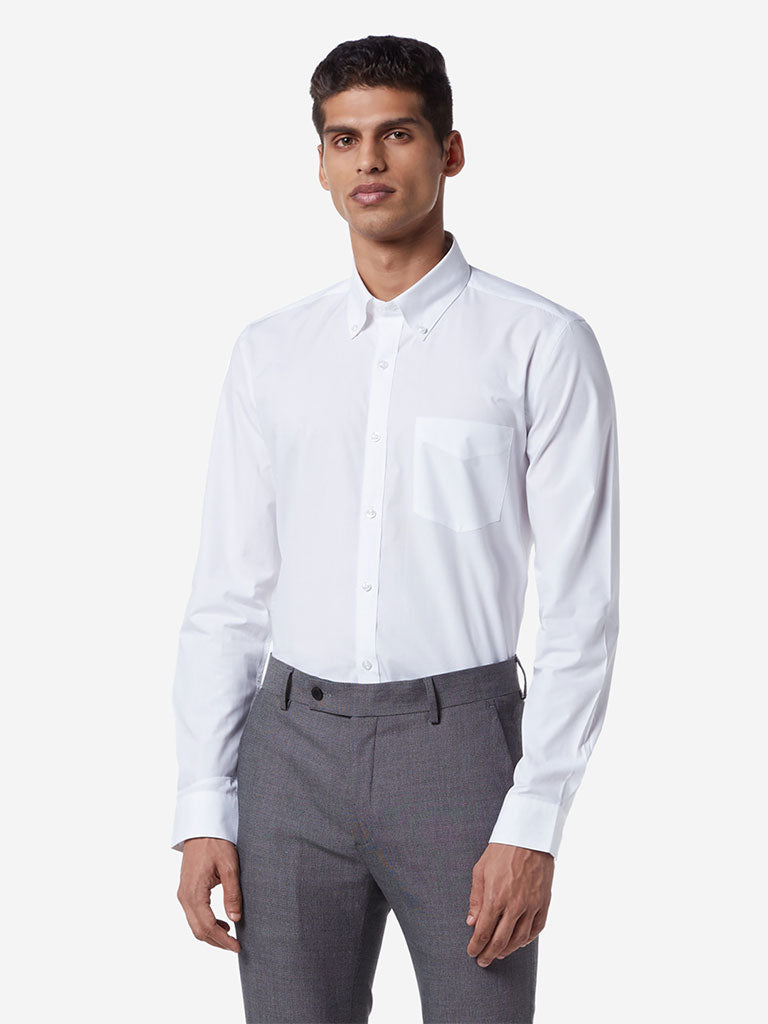 WES Formals White Slim Fit Shirt