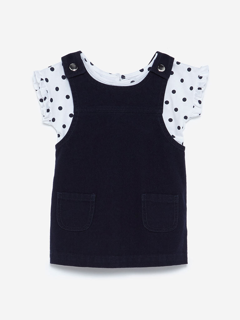Baby HOP Navy Mandy Pinafore And Top Set