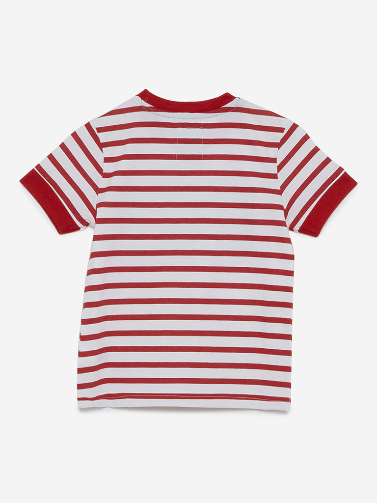 HOP Kids White Striped Pure-Cotton T-Shirt