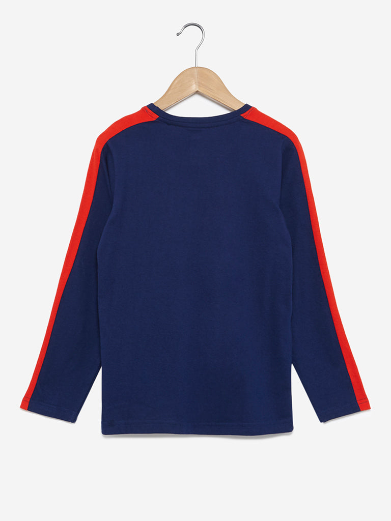 Y&F Kids Indigo Printed Cotton T-Shirt