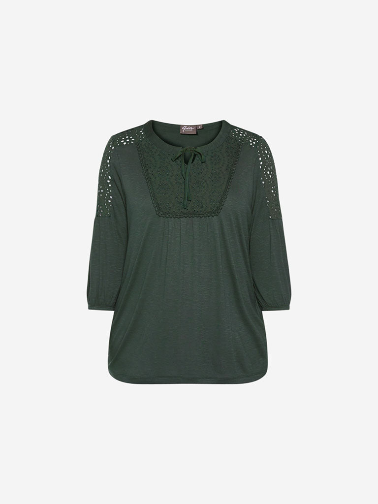 Gia Curve Olive Crochet Detail Top