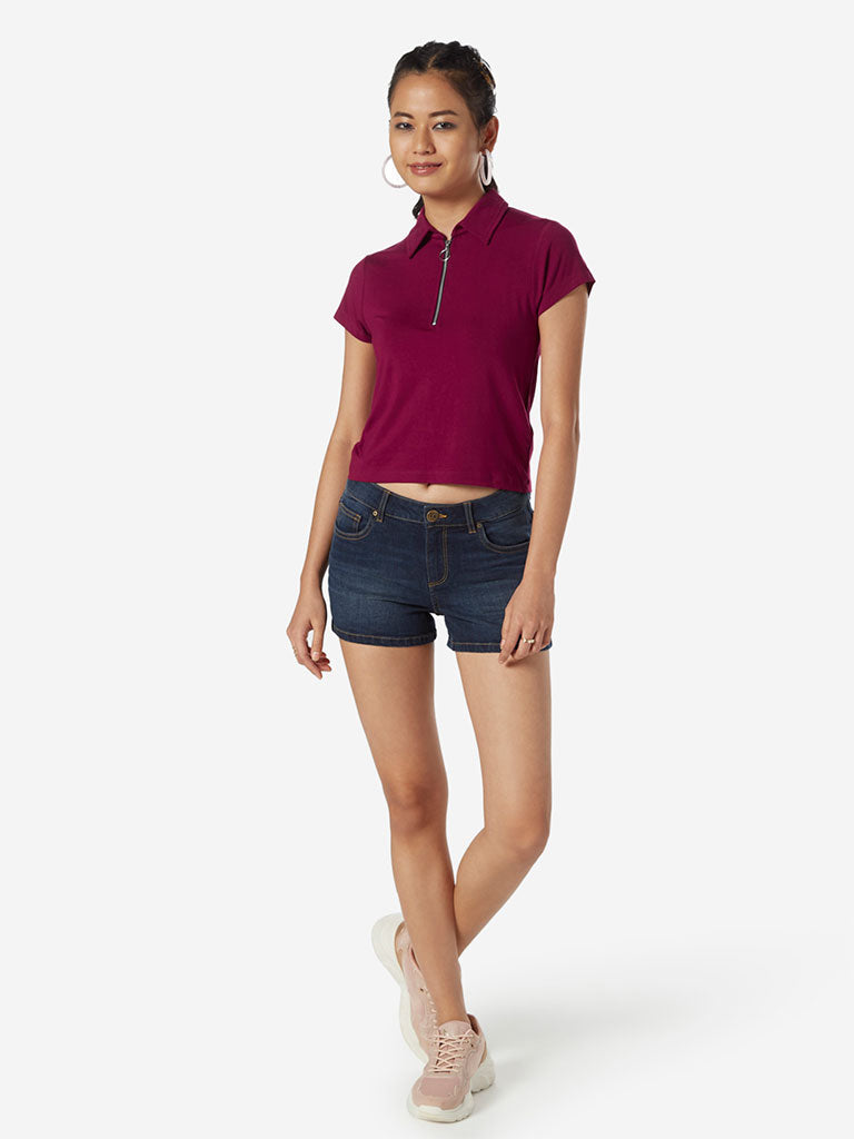 Nuon Hot Pink Cropped Polo T-Shirt