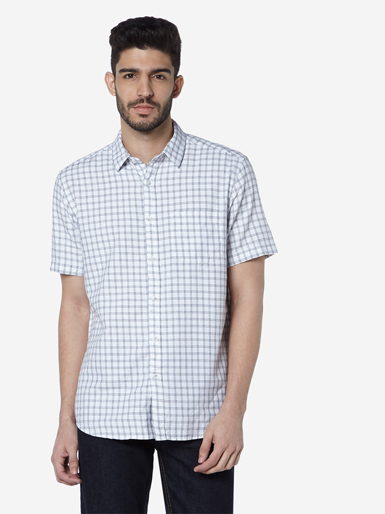 WES Casuals White Checked Relaxed Fit Shirt