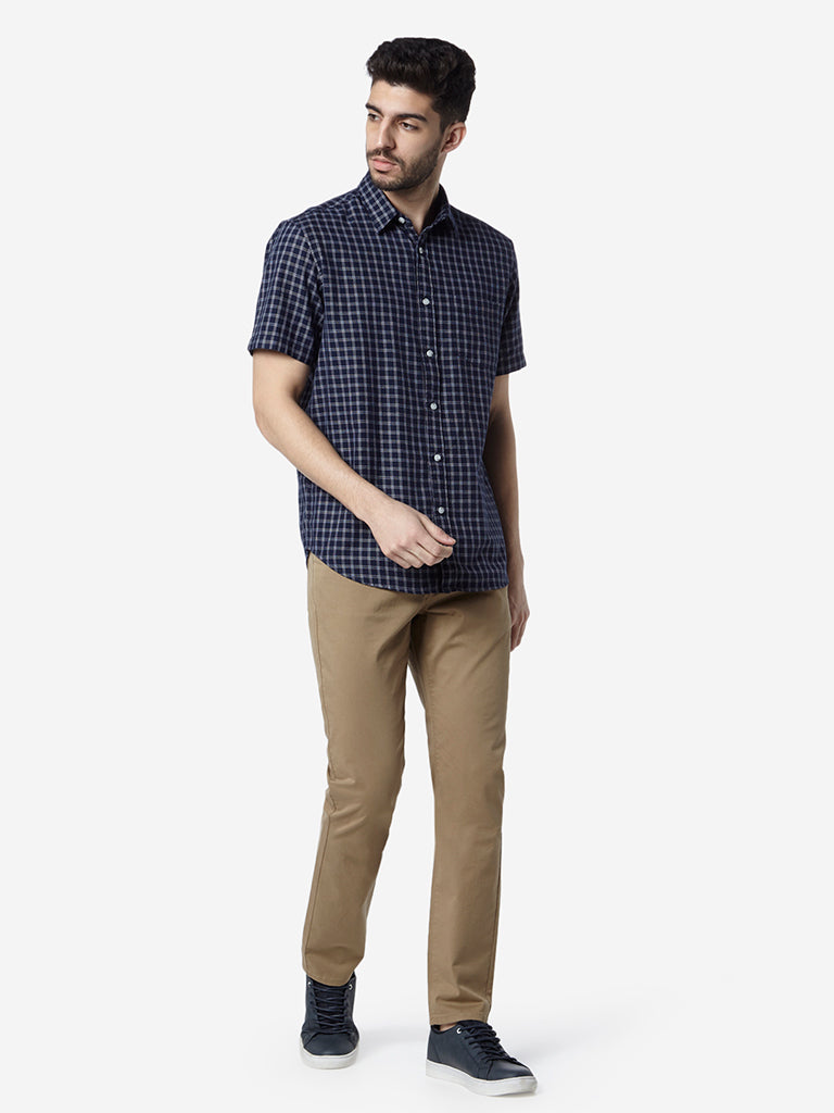 WES Casuals Navy Relaxed-Fit Checked Shirt