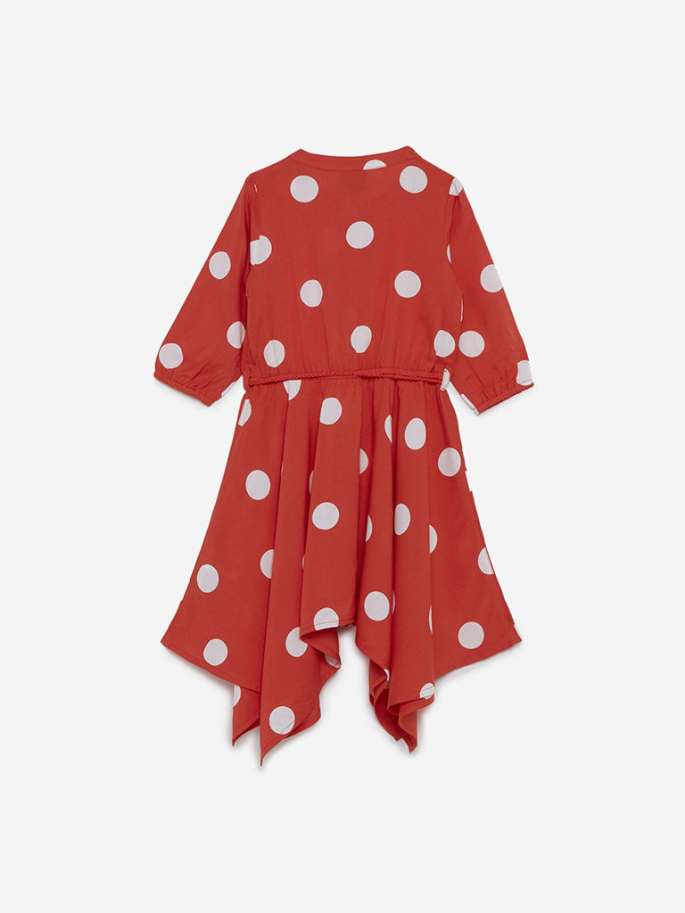 HOP Kids Orange Polka Dot Romina Dress With Belt