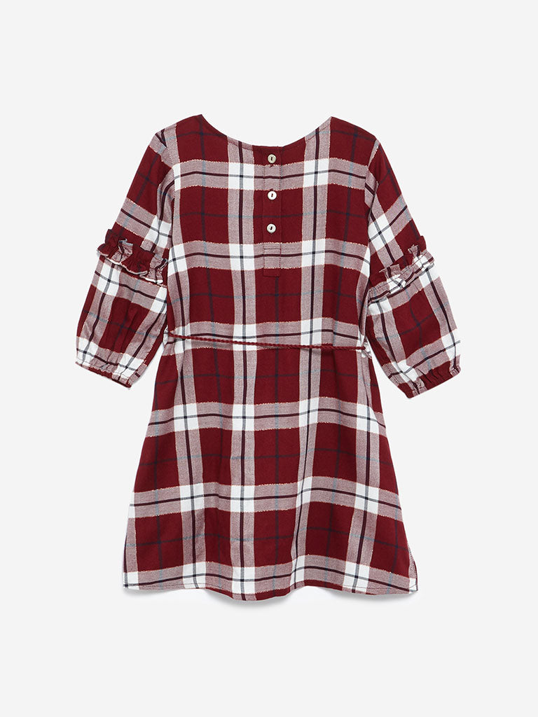 HOP Kids Burgundy Checked Naira Dress With Belt