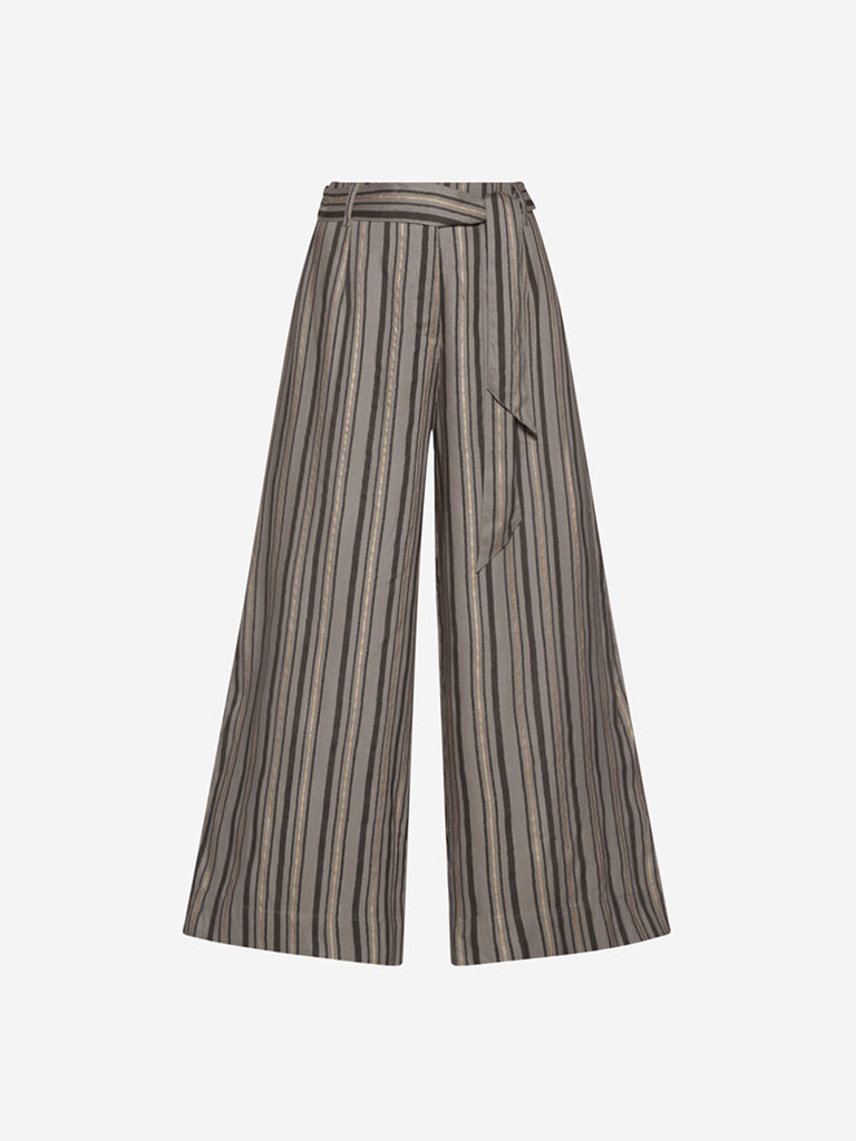 Bombay Paisley Grey Striped Palazzos With Belt