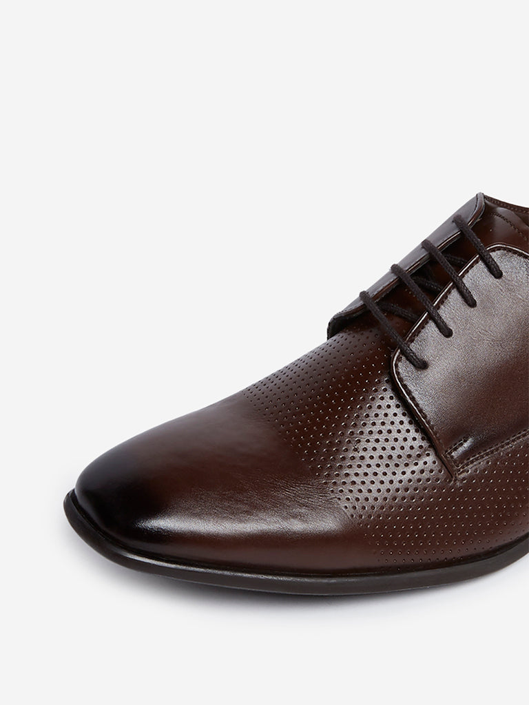 SOLEPLAY Brown Faux-Leather Derby Shoes