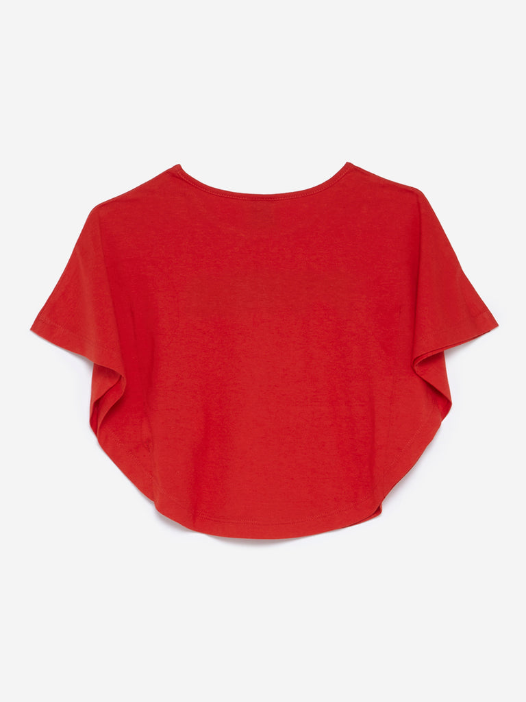 HOP Kids Red Text Print Twinkle Top