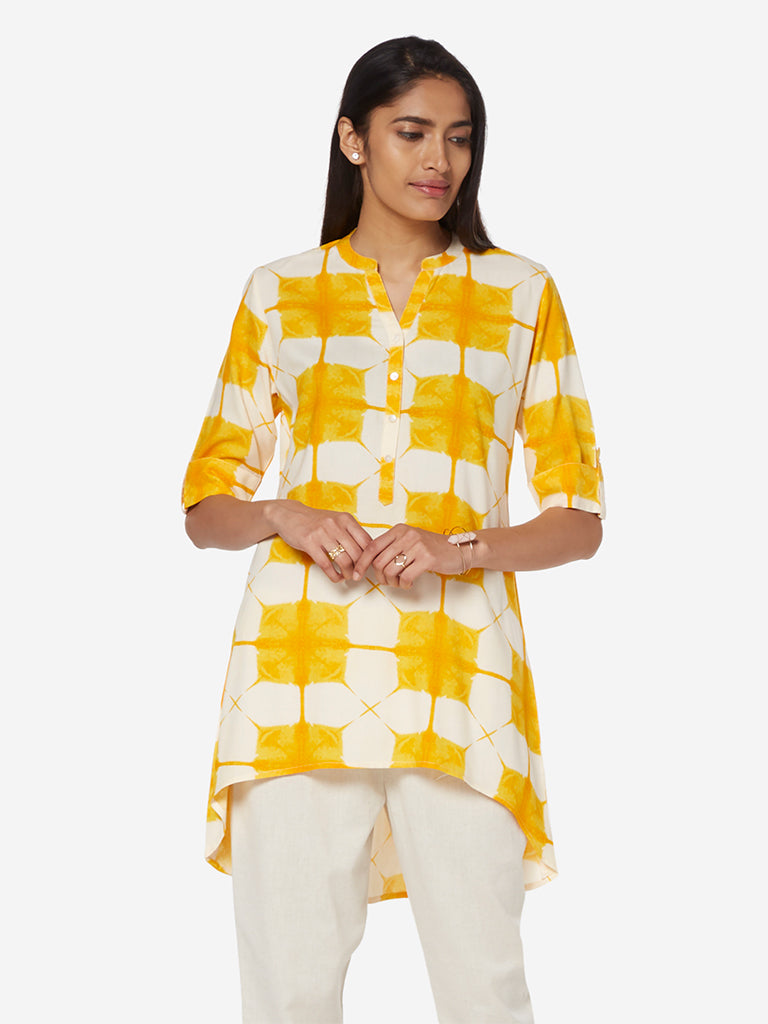 Utsa Yellow High-Low Geometrical Print Kurti